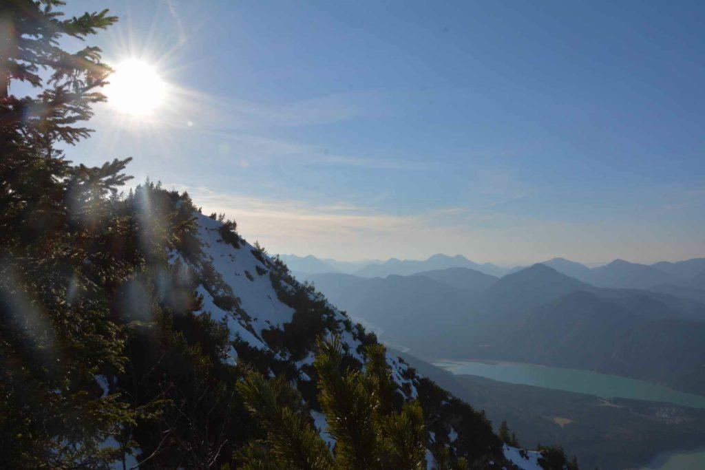 Sylvensteinsee wandern: Der Ausblick auf den See vom Dürrnberg aus
